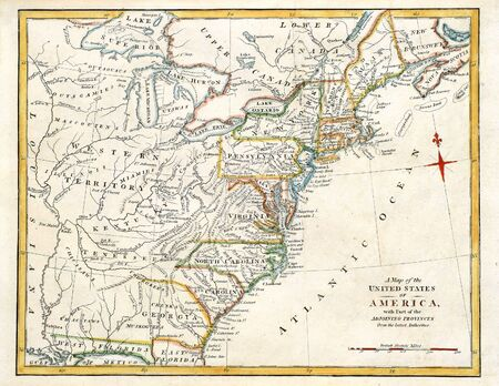 Early map of Colonial America, printed in England in 1795. Foto de archivo