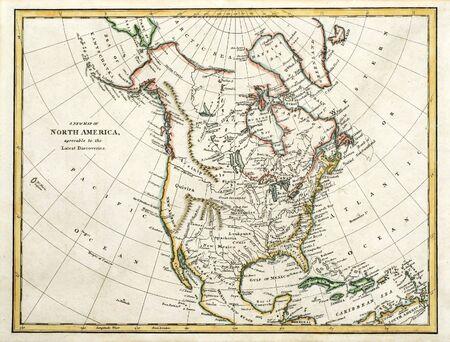 Vroege gekleurde kaart van Noord-Amerika, afgedrukt in Engeland en gedateerd 1791.