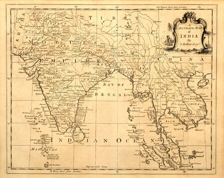 Antique map of India and Southeast Asia printed in 1750 Banco de Imagens - 121055723