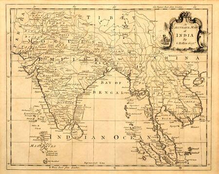 Mapa antiguo de la India y el sudeste asiático impreso en 1750