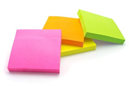 Multi-colored paper for notes, memos and reminders photo