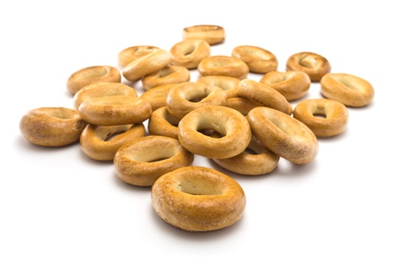 rubicund: Bagels on a white background