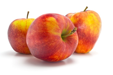 big, ripe, sweet, juicy red and yellow apples and half of apple photo
