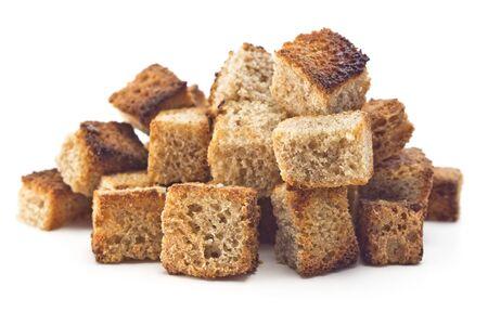 シャキッとしたパンのスライス トースト白い背景の上