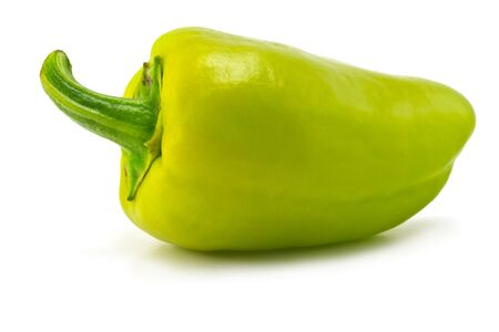 one green sweet pepper on white background photo