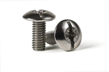 Two of metal bolt isolated on white background