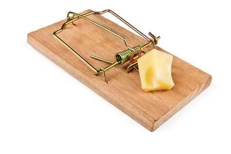 sudden death: Cocked mousetrap charged piece of cheese for bait