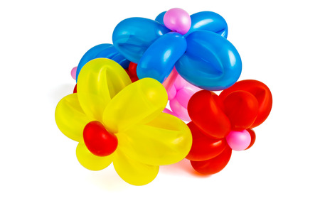 Jocular bouquet of flowers made of colored balloons