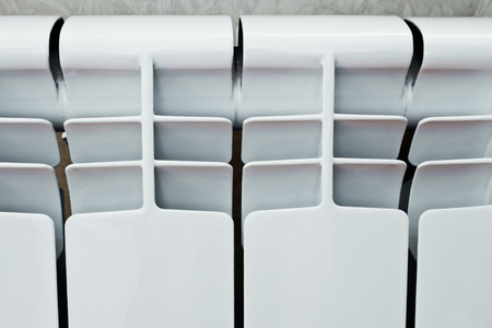 sectional: Heating radiator, many sectional, white, for room heating Stock Photo