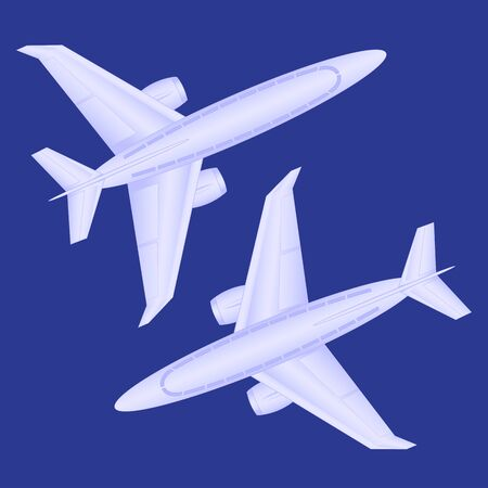 passenger plane: Passenger plane in the dark blue background, view from above