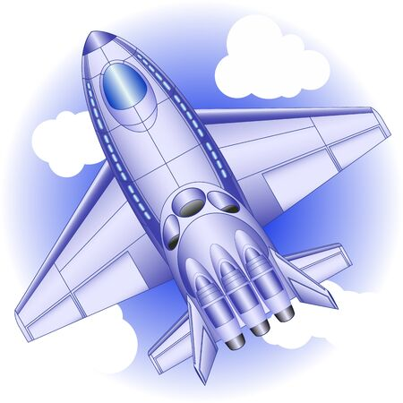 passenger aircraft: Passenger aircraft of the future on a  blue background with clouds, view from above Illustration