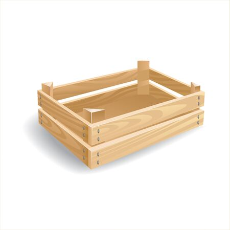 storage box: Wooden lath empty box for transportation and storage of vegetables or other product