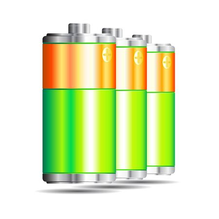 batteries: Batteries on a white background. Illustration