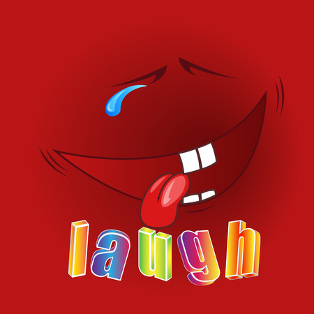 uncontrollable: Cheerful face laughing to tears with a big smile Illustration