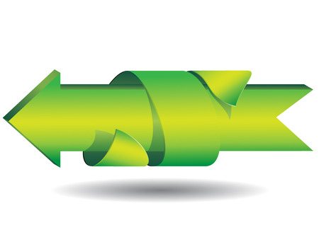 3D green ribbon around the arrows showing the direction isolated on white background