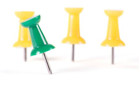 yellow tacks: Drawing pins in different colors isolated on white background