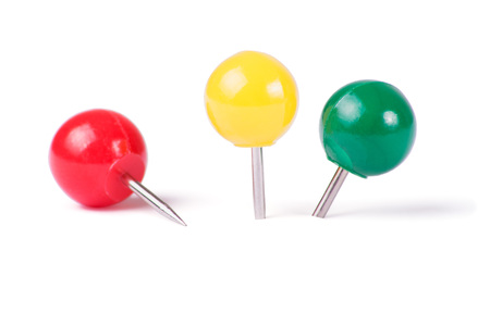 yellow tacks: Drawing pins ball in different colors isolated on white background Stock Photo