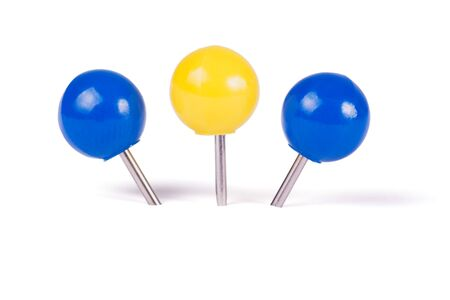 white pushpin: Drawing pins ball in different colors isolated on white background Stock Photo