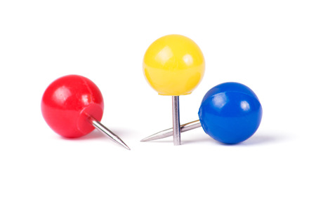 drawing pins: Drawing pins ball in different colors isolated on white background Stock Photo