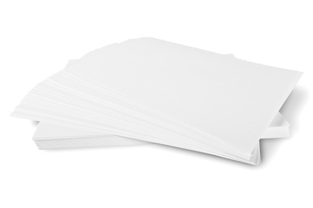 A ream of white sheets of paper isolated on white background