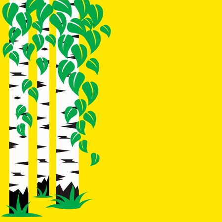 Birch Grove illustration, three trunks of birch and leaves on a yellow background Ilustrace