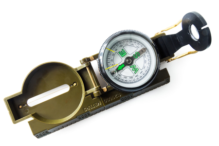 Modern compass to determine the direction of movement on a white background Фото со стока - 119120757