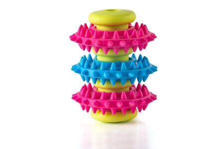 An unusual toy for a dog with three ribbed rings of blue and red colors on a light green sleeve. Toy isolated on a white background.