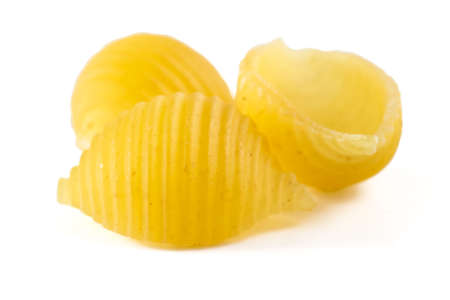 Pasta shells one two three isolated on white background