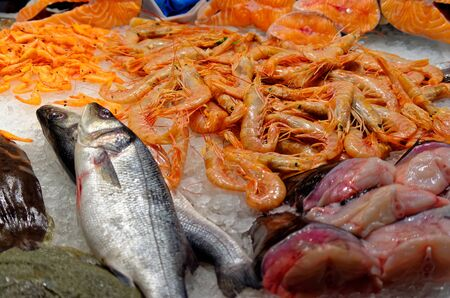 Fresh seafood on ice in fish market. Barcelona, Spain Stock Photo