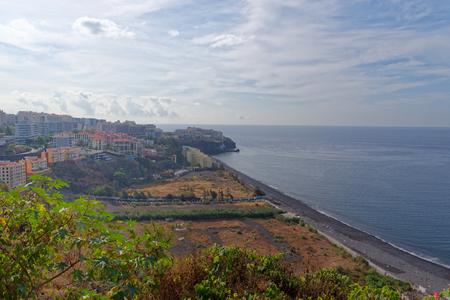 Praia Formosa beach in Funchal - black sand beach on the island Madeira, Portugal