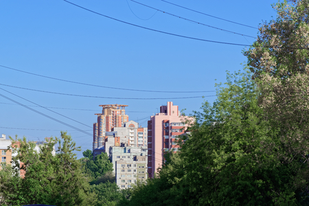 Scene of distant skyscrapers against clear blue sky. This scene was taken in Khabarovsk in Russia 写真素材