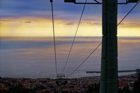 Cables of a funicular from Monte to Funchal at sunset. Portuguese island of Madeira Zdjęcie Seryjne