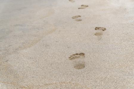 Beach scene of footprints in a sand. Da Nang, Vietnam Stockfoto