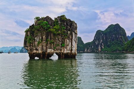 Beautiful rocky island in Vinh Ha Long bay, very famous travel destination in Vietnam