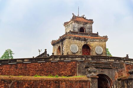 Tower on the outer wall of Purple Forbidden City (Imperial City) in Hue in Central Vietnam