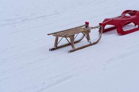 Two toboggan sleds in a winter. Torfhaus in Harz mountains national park, Germany
