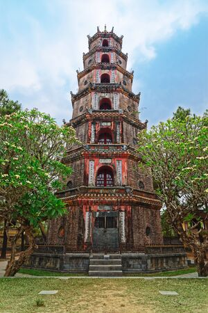 The Pagoda of the Celestial Lady (Phuoc Duyen Thien Mu Pagode) in Hue, Vietnam Stock Photo