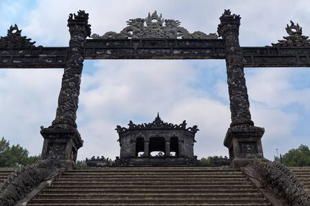 Entrance stairs and the gate to the Khai Dinh royal tomb Hue, Vietnam