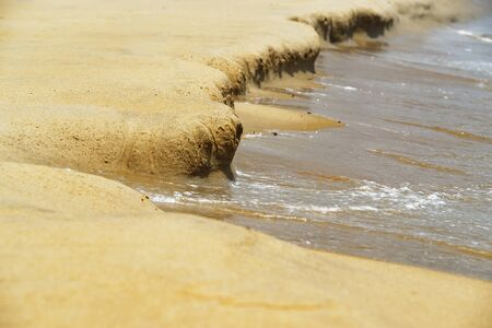 Close-up of sand formed by a water on the beach. Da Nang, Vietnam