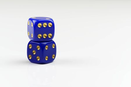 Two stacked dices on white background