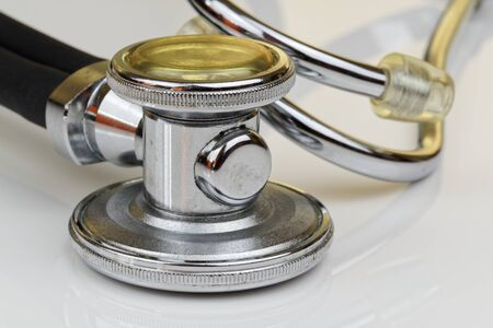 Close-up view of stethoscope on white background