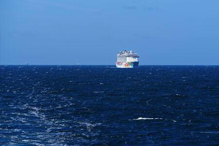 Norwegian Getaway cruise ship in open Baltic sea.