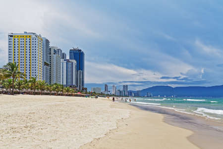 Da Nang, Vietnam - Mai 12, 2019: View of the seafront high-rise hotels on the south end of the golden sand beach My Khe, Danang beach on sunny day Editorial