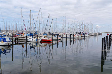 Heiligenhafen, Germany - July 27, 2019: A lot of sailboats in the marina of Heiligenhafen