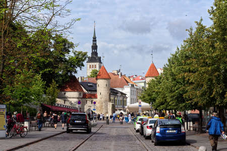 Tallinn, Estonia - August 12, 2019: View of historical buildings located in pedestrian zone of city center