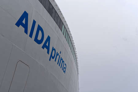 Tallinn, Estonia - August 12, 2019: Aida prima lettering on the side of a cruise ship in blue color