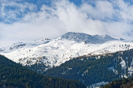 Panoramic view of snow covered mountain range in Ziller Valley, Austria