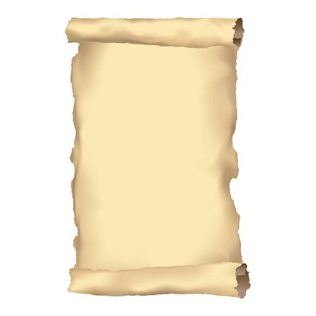 Paper old scroll or ancient parchment. Old document or manuscript background, empty sheet, papyrus illustration.