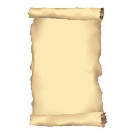 Stary zwój papieru lub starożytny pergamin. Stary dokument lub rękopis tło, pusty arkusz, ilustracja papirus.