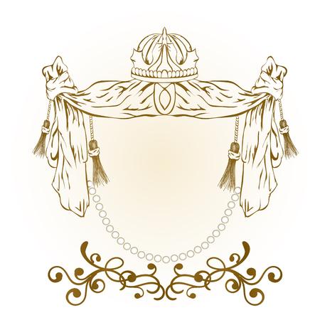 Vintage golden vector monogram. Elegant emblem for hotels, restaurants, bars, and public institutions. Heraldic symbols.